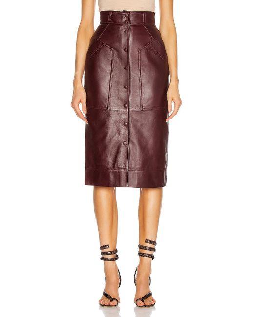 Alberta Ferretti Brown Leather Button Skirt