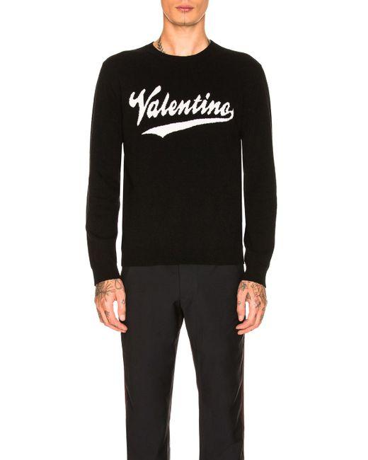 Valentino - Black Logo Sweater for Men - Lyst