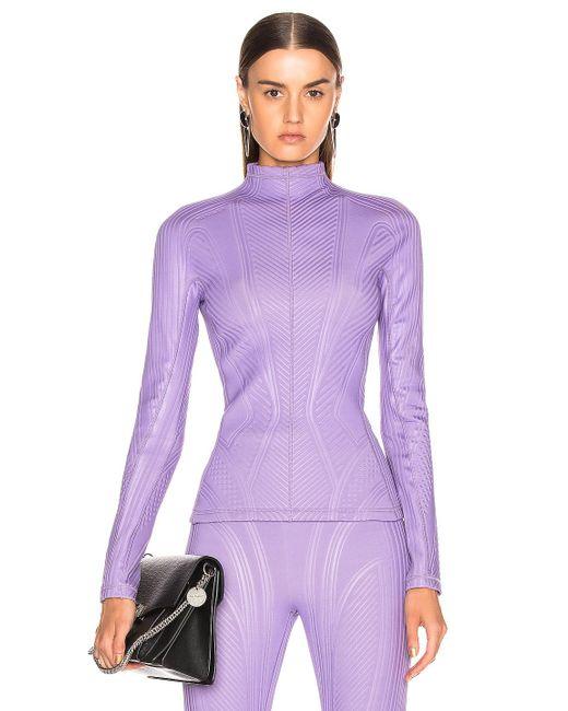 Mugler Purple Long Sleeve Sport Top
