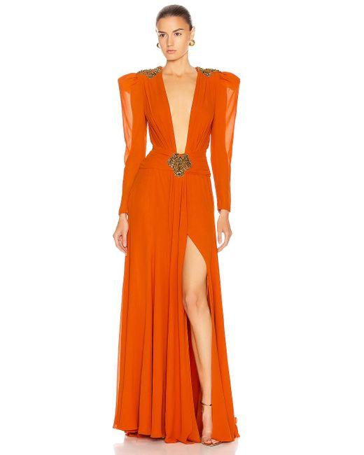 Dundas Orange Embellished Dress