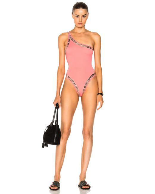 Norma Kamali | Pink For Fwrd Stud One Shoulder Mio One Piece | Lyst
