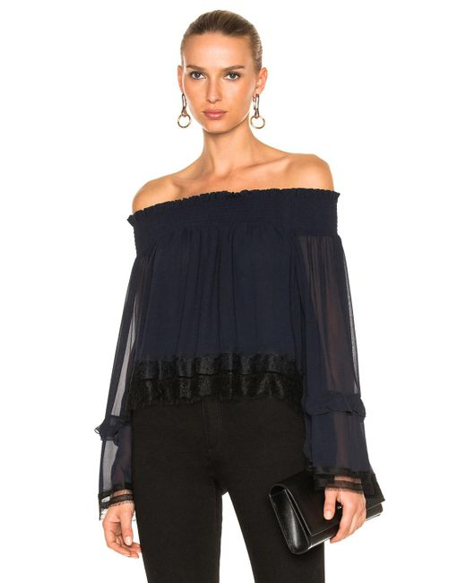 Nicholas | Blue Georgette Ruffle Off Shoulder Top | Lyst