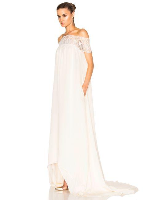 Self portrait lace detail off shoulder wedding dress in for Self portrait wedding dress