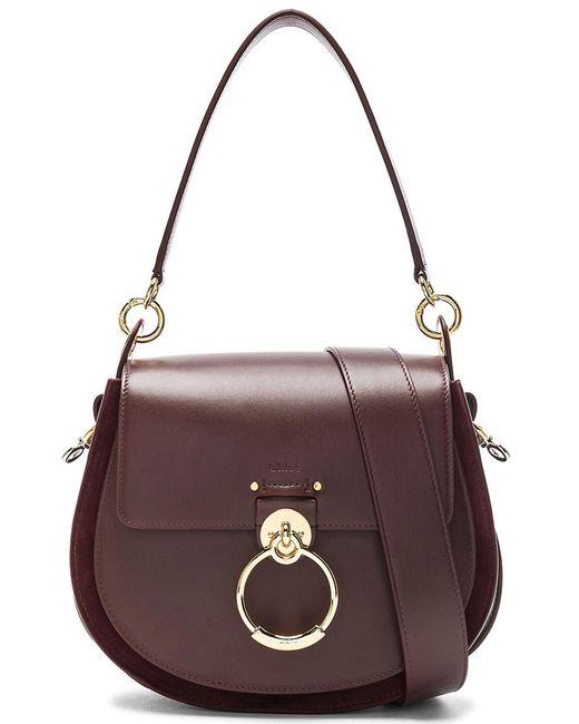 9743bb776dee Chloé - Brown Medium Tess Shiny Calfskin Shoulder Bag - Lyst ...