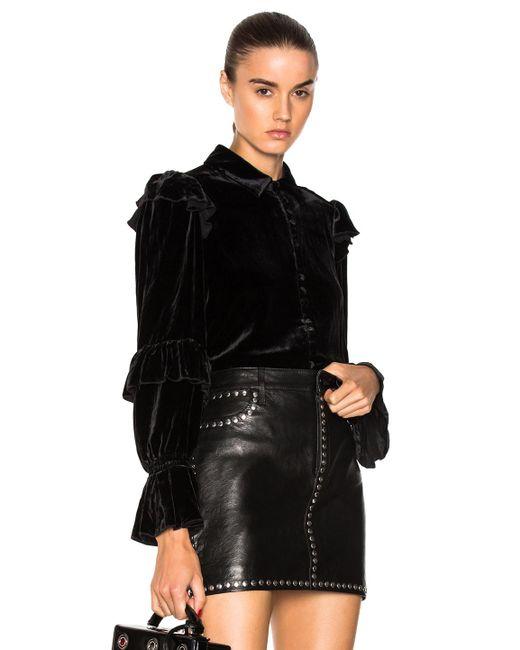 FRAME - Black Velvet Victorian Ruffle Blouse In Noir - Lyst