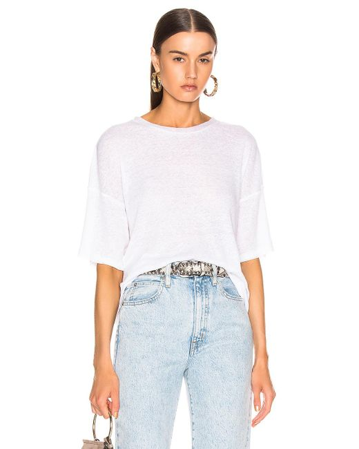 The Range White Shadow Linen Rib Weekend Tee