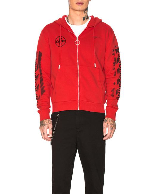 a65a8f1f01d8 Lyst - Off-White c o Virgil Abloh Diagonal Stencil Hoodie in Red for ...