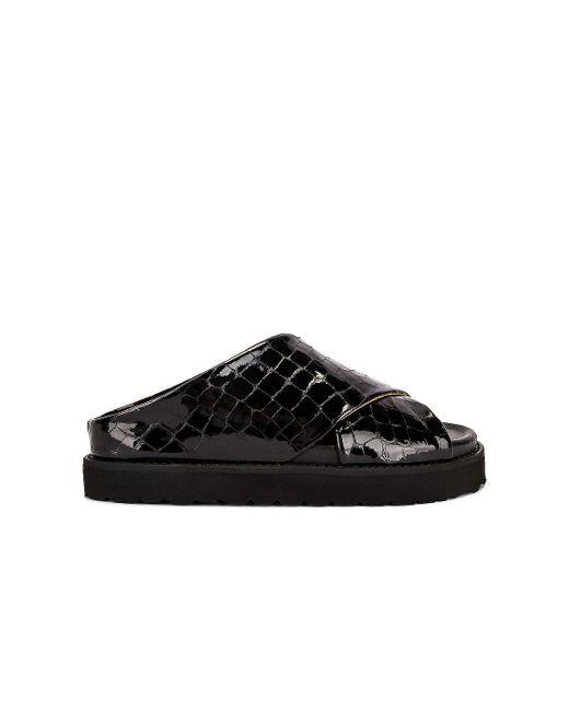 Ganni Black Belly Croc Sandal
