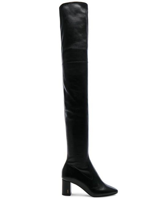 Saint Laurent | Black Stretch Nappa Leather Loulou Thigh High Pin Boots | Lyst