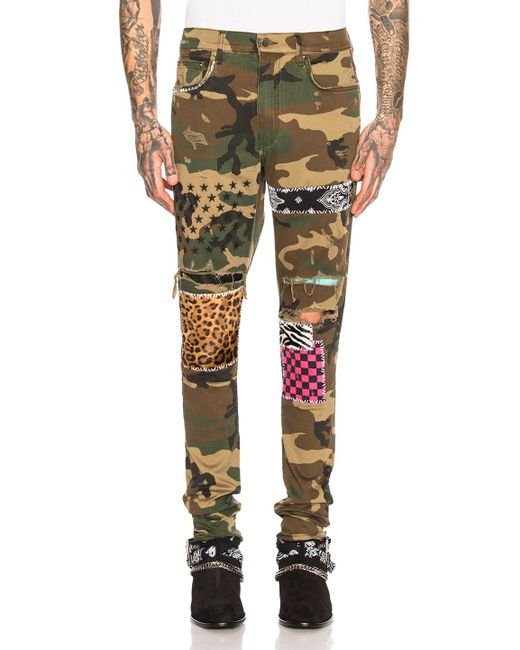Amiri Green And Brown Camo Art Patch Jeans for men