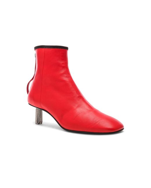 Calvin Klein Grainne Leather Crystal Heel Ankle Boots in . eI6cp6T