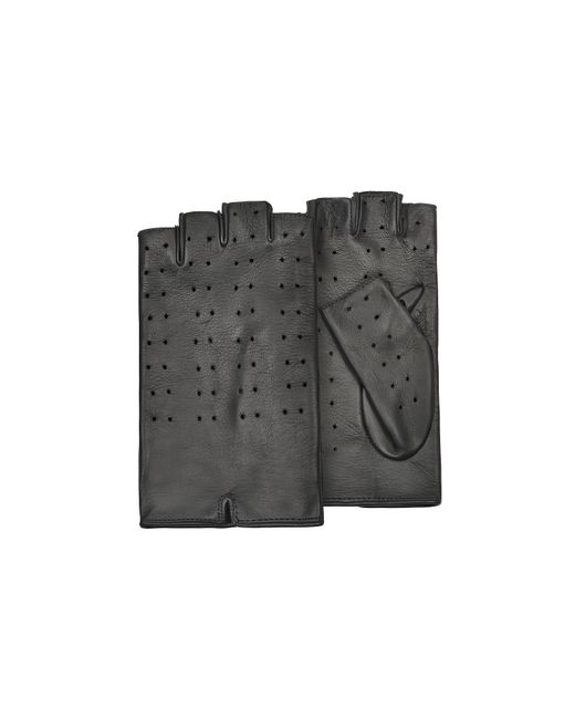 Forzieri - Women's Black Perforated Fingerless Leather Gloves - Lyst