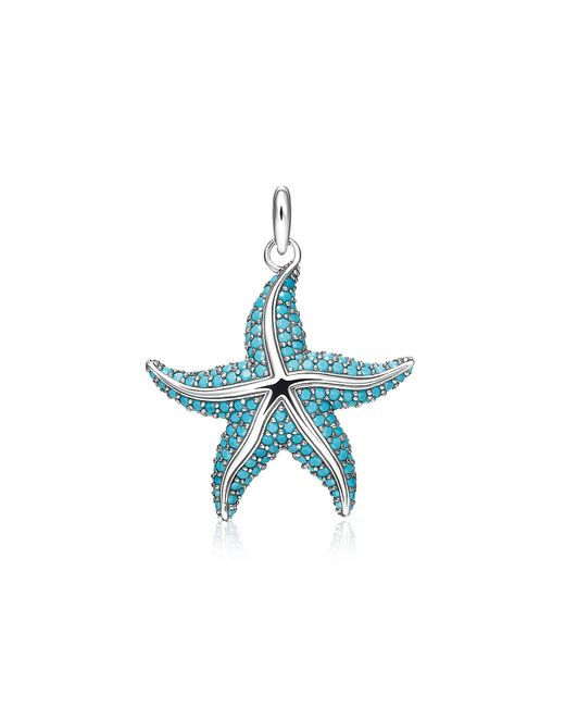 Thomas Sabo - Blue Blackened Sterling Silver Starfish Pendant W/turquoise Stone Glass-ceramic Stones - Lyst