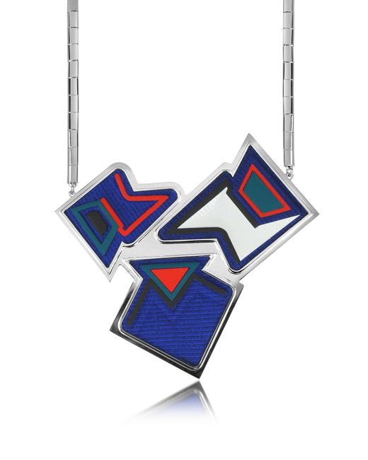 Avril 8790 - Blue Ziggy Palladium Plated Brass And Viscose Pendant Necklace - Lyst