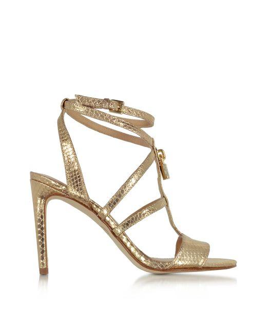 Michael kors Antoinette Pale Gold Snake Printed Leather High Heel ...