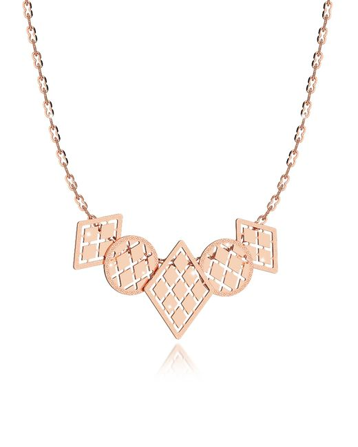 Rebecca - Pink Melrose Rose Gold Over Bronze Necklace W/five Geometric Charms - Lyst