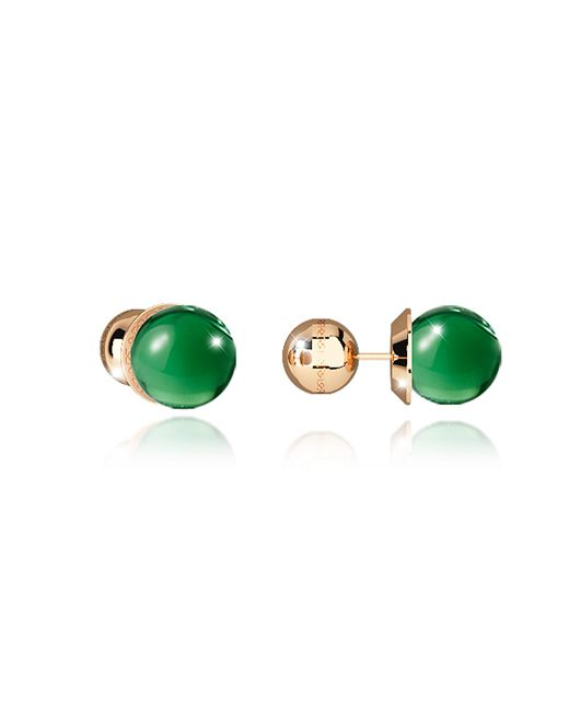 Rebecca - Boulevard Stone Yellow Gold Over Bronze Stud Earrings W/green Hydrothermal Stone - Lyst