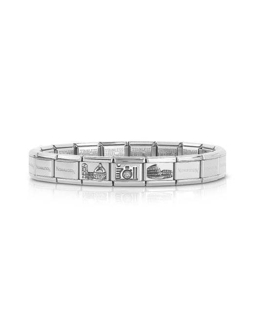 Nomination - Metallic Classic Italia Stearling Silver And Stainless Steel Bracelet W/cubic Zirconia Italian Flag - Lyst