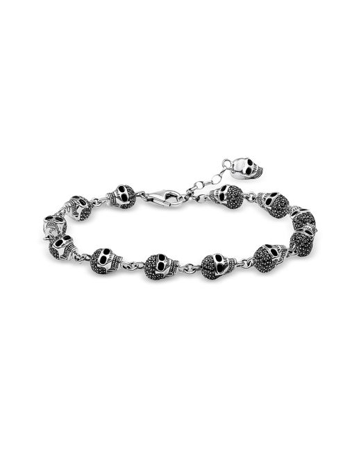 Thomas Sabo - Metallic Blackened 925 Sterling Silver And Zirconia Pave Skulls Bracelet for Men - Lyst