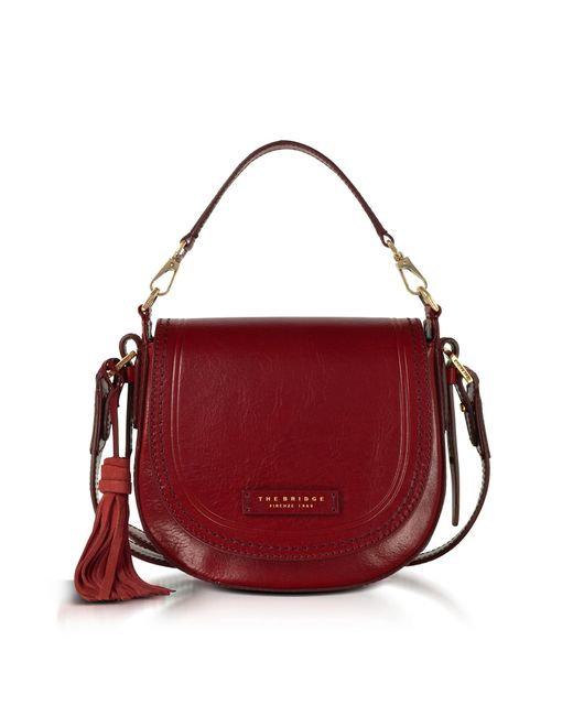 The Bridge Red Medium Messenger Tasche aus Leder mit Troddeln