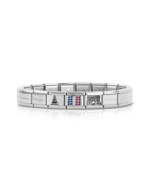 Nomination - Metallic Classic Francia Stearling Silver And Stainless Steel Bracelet W/cubic Zirconia Flag - Lyst