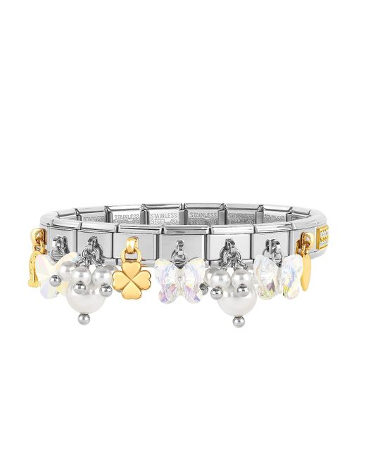 Nomination - Metallic Classic Bright Charms Gold And Stainless Steel Bracelet W/crystals And Pearls - Lyst