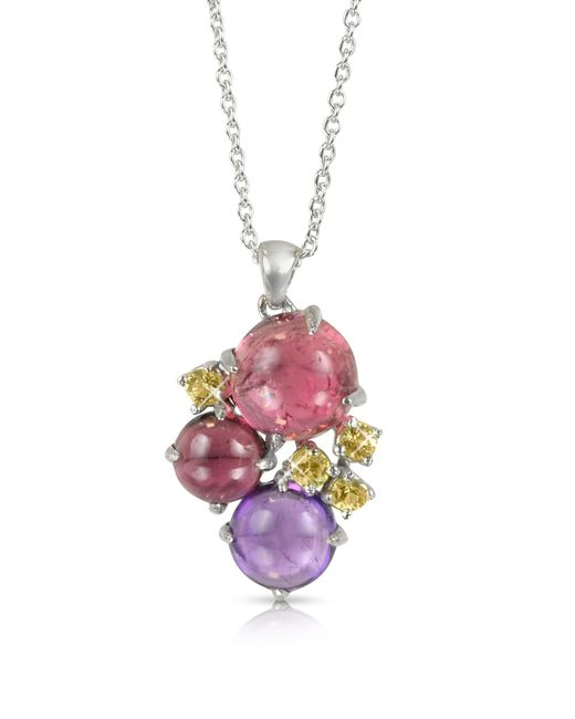 Mia & Beverly - Red Gemstones 18k White Gold Pendant Necklace - Lyst