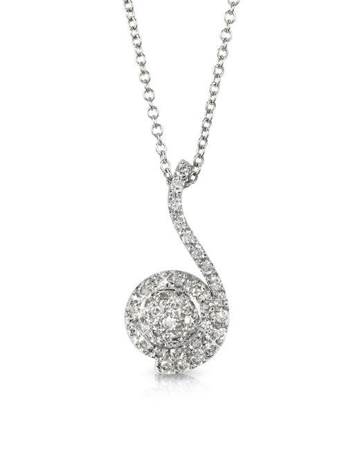 Forzieri - 0.34 Ctw Diamond Pave 18k White Gold Pendant Necklace - Lyst