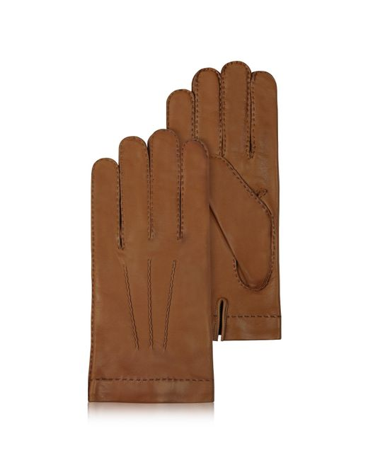 Forzieri Men's Cashmere Lined Brown Italian Leather Gloves for men