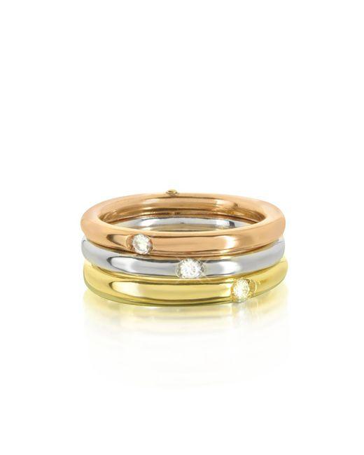 Bernard Delettrez - Metallic 9k White Yellow And Pink Gold Triple Secret Ring W/diamonds - Lyst