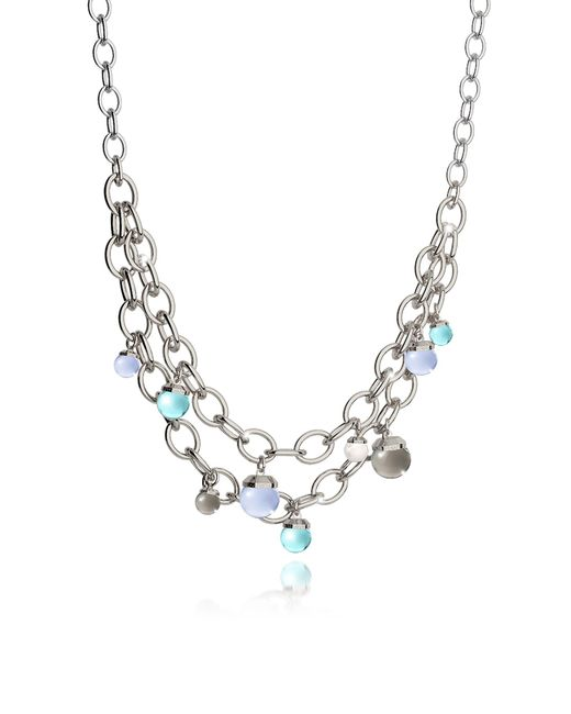 Rebecca | Metallic Hollywood Stone Rhodium Over Bronze Chains Necklace W/hidrothermal Stones | Lyst