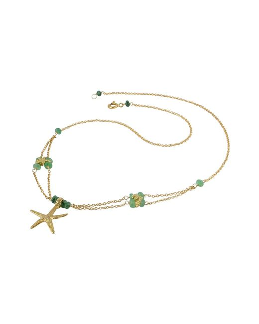 Forzieri | Metallic Starfish Pendant Emerald & 18k Yellow Gold Necklace | Lyst