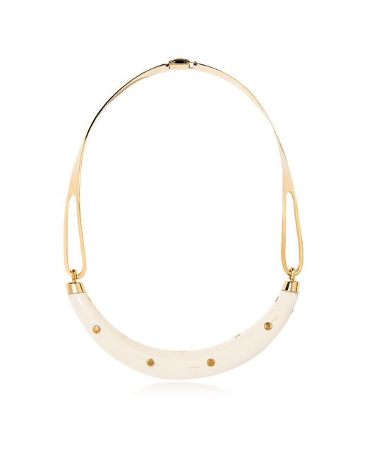 Aurelie Bidermann - Metallic Studded Caftan Gold Plated And Resin Horn Moon Necklace - Lyst