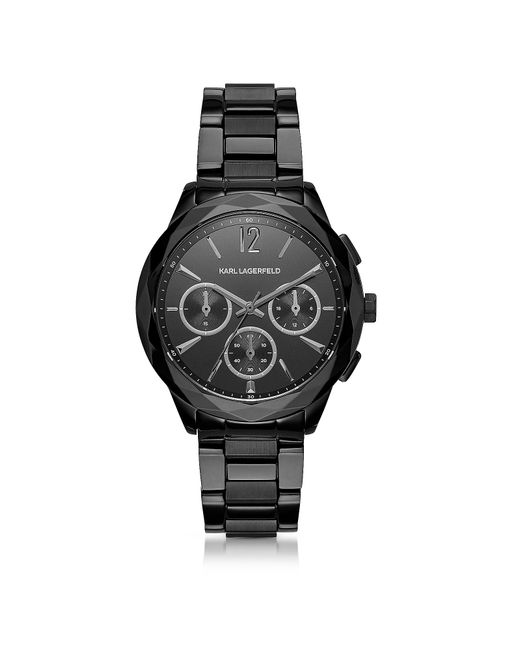Karl Lagerfeld - Optik Black Stainless Steel Women's Chronograph Watch - Lyst