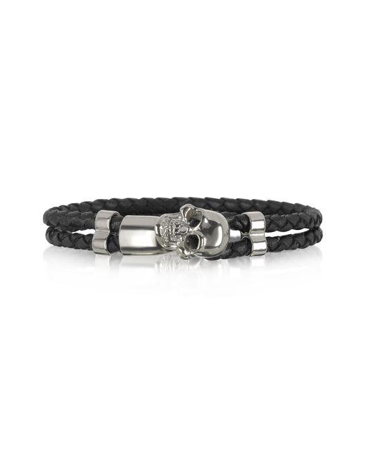 Forzieri - Metallic Skull Silver Tone Brass And Leather Men's Bracelet for Men - Lyst