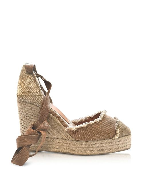 Castaner Brown Catalina Taupe Canvas Wedge Espadrilles
