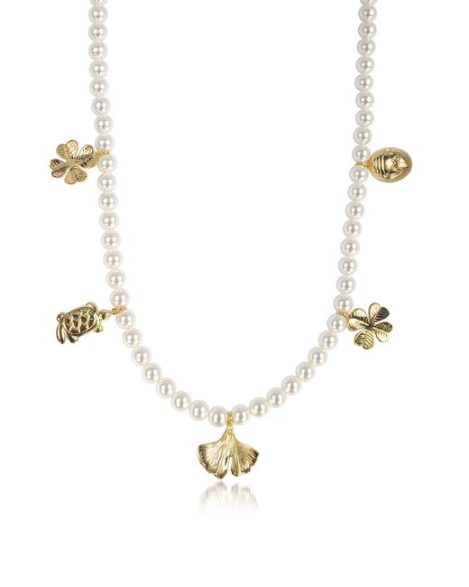 Aurelie Bidermann - White Cheyne Walk Long Necklace W/glass Pearls And 18k Gold-plated Charms - Lyst