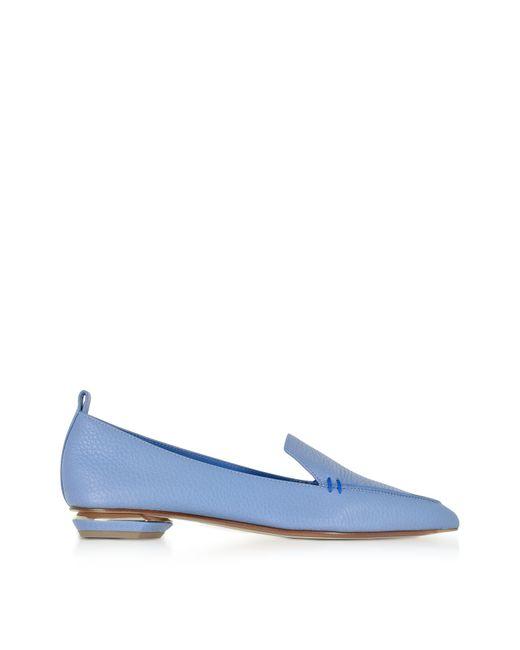 Nicholas Kirkwood | Beya Sky Blue Tumbled Leather Loafer | Lyst
