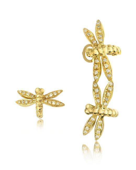 Bernard Delettrez - Metallic Dragonflies 18k Gold Earrings W/diamonds - Lyst