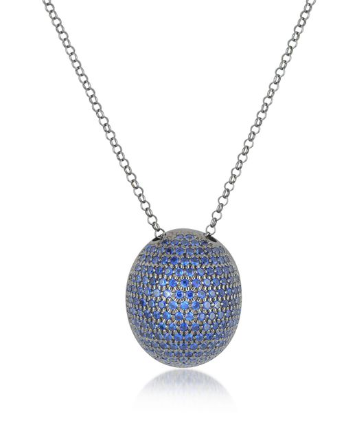 Azhar - Metallic Blue Cubic Zirconia Sterling Silver Pendant Necklace - Lyst