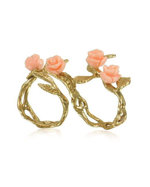 Bernard Delettrez Metallic Two Fingers Leafy Bronze Ring W/4 Pink Resin Roses