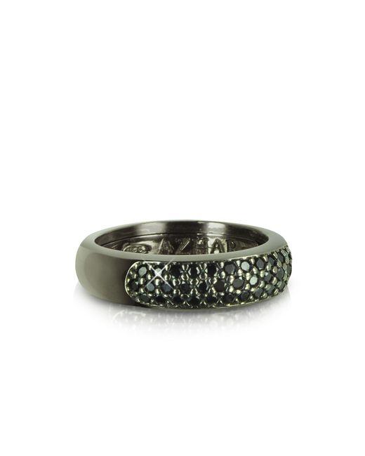 Azhar - Black Cubic Zirconia & Sterling Silver Ring - Lyst