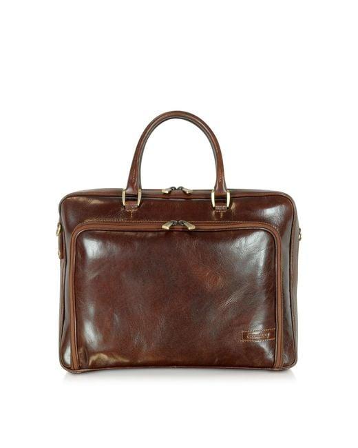 Chiarugi - Dark Brown Double Handle Leather Zip Briefcase for Men - Lyst