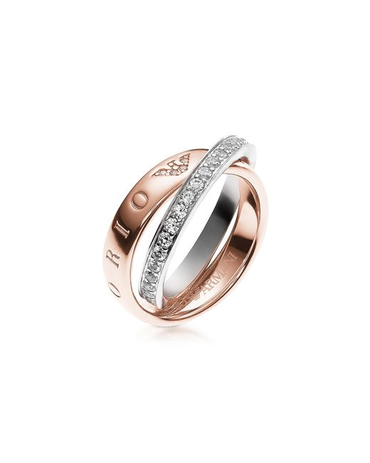 Emporio Armani | Pink Heritage Rose Goldtone Double Ring W/crystals | Lyst