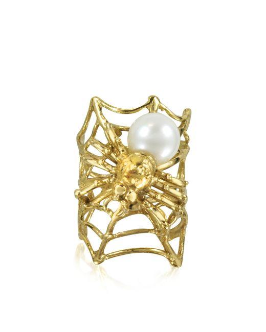 Bernard Delettrez - Metallic Web And Spyder Bronze Ring W/pearl - Lyst