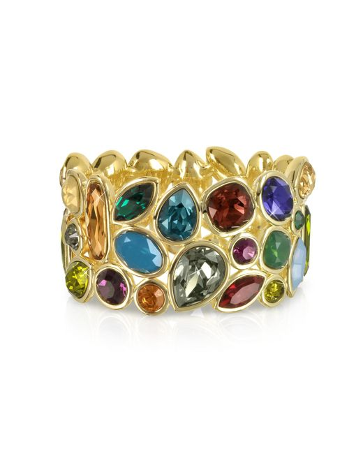Forzieri | Metallic Multicolor Crystal And Metal Bangle | Lyst