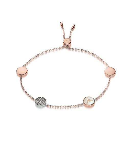 Emporio Armani - Pink Signature Rose Goldtone Bracelets W/charms - Lyst