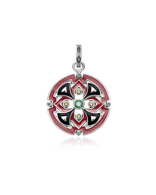 Thomas Sabo - Metallic Blackened Sterling Silver Glass-ceramic Stone And Synthetic Corundum Round Pendant - Lyst