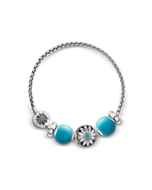 Thomas Sabo - Metallic Blackened Sterling Silver Bracelet W/turquoise Howlite Beads - Lyst