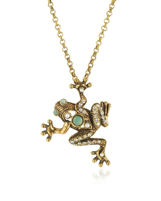 Alcozer & J - Metallic Brass Frog Necklace - Lyst